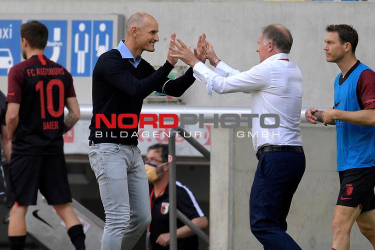 Klassenerhalt geschafft:<br />Schlussjubel Heiko HERRLICH  (Trainer FC Augsburg) und Stefan REUTER (Manager FC Augsburg).<br /><br />Fussball 1. Bundesliga, 33.Spieltag, Fortuna Duesseldorf (D) -  FC Augsburg (A), am 20.06.2020 in Duesseldorf/ Deutschland. <br /><br />Foto: AnkeWaelischmiller/Sven Simon/ Pool/ via Meuter/Nordphoto<br /><br /># Editorial use only #<br /># DFL regulations prohibit any use of photographs as image sequences and/or quasi-video #<br /># National and international news- agencies out #