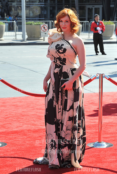 Christina Hendricks at the 2012 Primetime Creative Emmy Awards at the Nokia Theatre, LA Live..September 15, 2012  Los Angeles, CA.Picture: Paul Smith / Featureflash