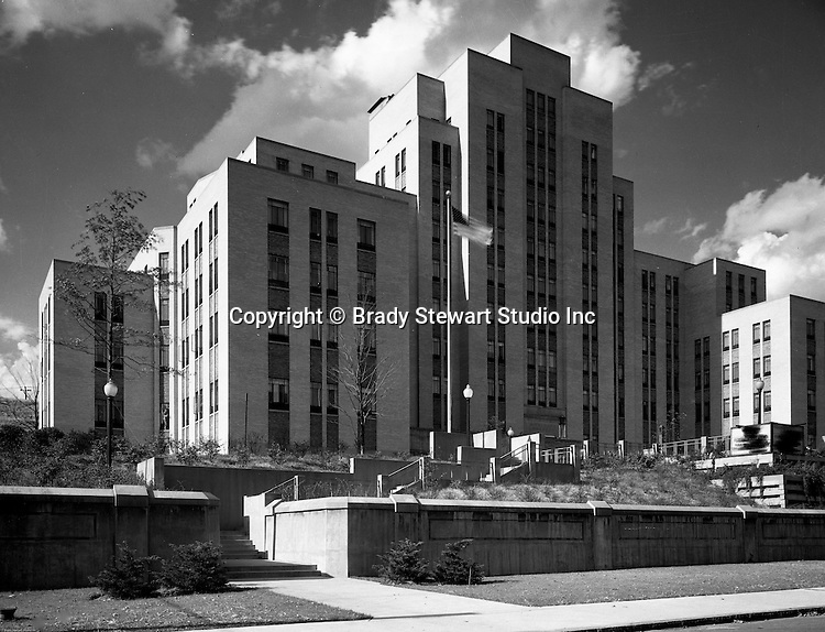Pittsburgh PA:  Municipal Hospital in  the Oakland section of Pittsburgh  - 1941.  The main structure of Salk Hall is the former city owned Pittsburgh Municipal Hospital for Contagious Diseases constructed in 1941 on land the university had given to the city.