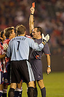 Referee Terry Vaughn shows Chivas goal Keeper Dan Kennedy a red card. The Houston Dynamo and Chivas USA played to a 1-1 tie at Home Depot Center stadium in Carson, California on Saturday October 25, 2008. Photo by Michael Janosz/isiphotos.com