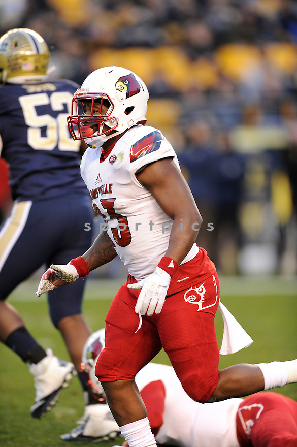 Louisville Cardinals Brandon Radcliff (23) in action during a game against the Pittsburgh Panthers on November 21, 2015 at Heinz Field in Pittsburgh, PA. Pittsburgh beat Louisville 45-34.