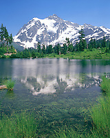 Mount Shuksan, 9,131 feet reflects in Picture Lake, Washington.