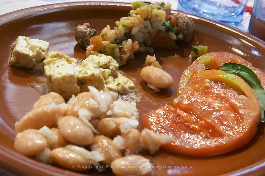 An earthenware plate with tomato and basil leaf salad, vegetable risotto, white beans and onion salad. White beans typical for south east Albania. Goat cheese from northern Albania Tradita traditional restaurant, Shkodra. Albania, Balkan, Europe.