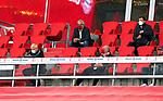 23.05.2020, Allianz Arena, München, GER, 1.FBL, FC Bayern München vs Eintracht Frankfurt 23.05.2020 , <br /><br />Nur für journalistische Zwecke!<br /><br />Gemäß den Vorgaben der DFL Deutsche Fußball Liga ist es untersagt, in dem Stadion und/oder vom Spiel angefertigte Fotoaufnahmen in Form von Sequenzbildern und/oder videoähnlichen Fotostrecken zu verwerten bzw. verwerten zu lassen. <br /><br />Only for editorial use! <br /><br />DFL regulations prohibit any use of photographs as image sequences and/or quasi-video..<br />im Bild<br />Uli HOENESS (former FCB President ),  Oliver KAHN, FCB CEO, Jan-Christian Dreesen ,  managing financial director FCB mit Mundschutz und Abstand auf der Tribüne <br /> Foto: Peter Schatz/Pool/Bratic/nordphoto