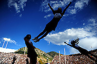 Sept. 19, 2009; Provo, UT, USA; BYU Cougars cheerleaders perform during the game against the Florida State Seminoles at LaVell Edwards Stadium. Florida State defeated BYU 54-28. Mandatory Credit: Mark J. Rebilas-