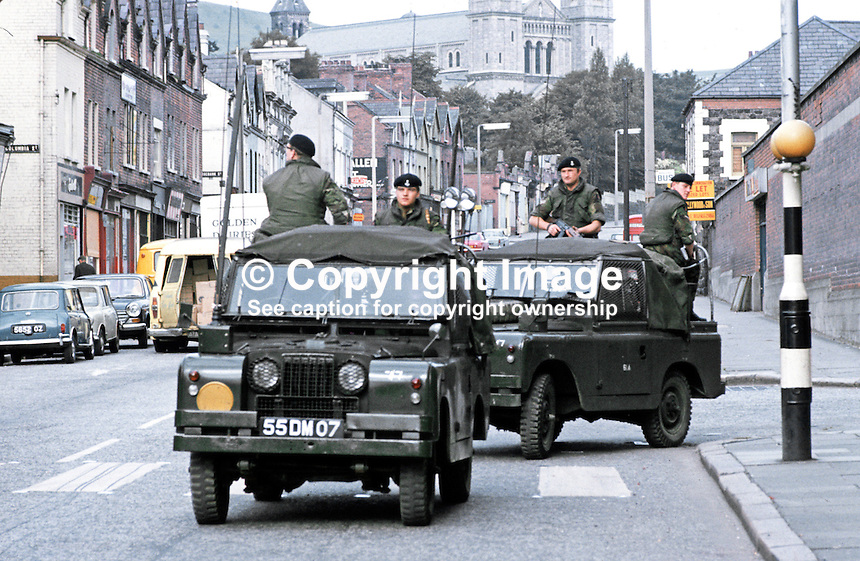 British army landrovers patrolling on the Crumlin Road, Belfast, N Ireland, September, 1971, 197109000431e.<br /> <br /> Copyright Image from Victor Patterson, 54 Dorchester Park, Belfast, UK, BT9 6RJ<br /> <br /> t1: +44 28 9066 1296<br /> t2: +44 28 9002 2446<br /> m: +44 7802 353836<br /> <br /> e1: victorpatterson@me.com<br /> e2: victorpatterson@gmail.com<br /> <br /> www.victorpatterson.com<br /> <br /> IMPORTANT: Please see my Terms and Conditions of Use at www.victorpatterson.com