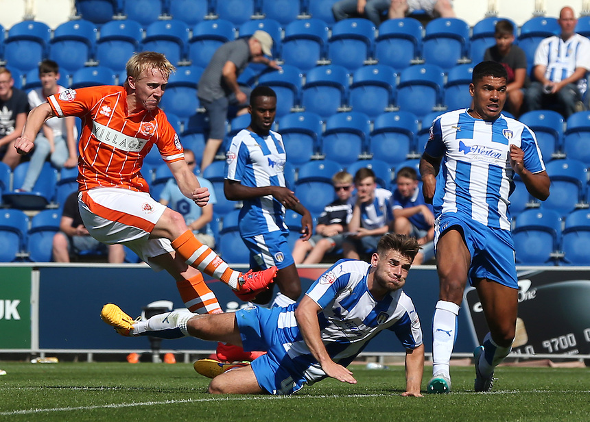 Blackpool's Mark Cullen scores his side 2nd goal<br /> <br /> Photographer  Kieran Galvin/CameraSport<br /> <br /> Football - The Football League Sky Bet League One - Colchester United v Blackpool - Saturday 08th August 2015 - Weston Homes Community Stadium - Colchester<br /> <br /> &copy; CameraSport - 43 Linden Ave. Countesthorpe. Leicester. England. LE8 5PG - Tel: +44 (0) 116 277 4147 - admin@camerasport.com - www.camerasport.com