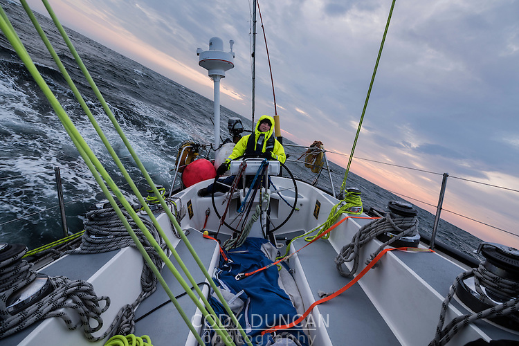 Sailing through rough seas towards Snæfellsnes peninsula after three day crossing of Denmark Straight from Greenland