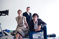 UK. London. 28th June  2010.Tamsin Greig, Matt LeBlanc and Stephen Mangan, the stars of a new tv show, Episodes, photographed during a publicity shoot for the show..©Andrew Testa for the New York Times