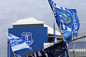 1st October 2017, Goodison Park, Liverpool, England; EPL Premier League Football, Everton versus Burnley; Everton flags flutter in the breeze outside the stadium before the match