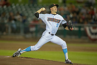 Inland Empire 66ers pitcher Griffin Canning (9) delivers a pitch to the plate against the San Jose Giants at San Manuel Stadium on April 5, 2018 in San Bernardino, California. (Donn Parris/Four Seam Images)