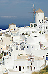 A view of the village of Oia on the island of Santorini, Greece.