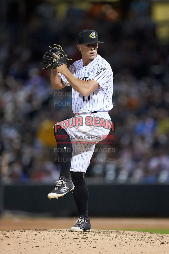 Charlotte Knights relief pitcher Ian Hamilton (17) in action against the Toledo Mud Hens at BB&T BallPark on June 22, 2018 in Charlotte, North Carolina. The Mud Hens defeated the Knights 4-0.  (Brian Westerholt/Four Seam Images)
