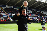 Bjorn Hamberg, assistant coach for Swansea City applauds the fans at the final whistle during the Sky Bet Championship match between Swansea City and Hull City at the Liberty Stadium in Swansea, Wales, UK. Saturday 27 April 2019
