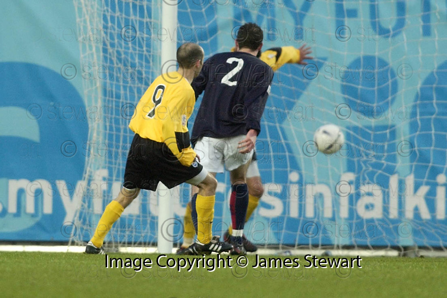 18/12/2004  Copyright Pic : James Stewart.File Name : jspa15_falkirk_v_qots.BRIAN MCLAUGHLIN SCORES QUEEN OF THE SOUTH'S SECOND.....Payments to :.James Stewart Photo Agency 19 Carronlea Drive, Falkirk. FK2 8DN      Vat Reg No. 607 6932 25.Office     : +44 (0)1324 570906     .Mobile   : +44 (0)7721 416997.Fax         : +44 (0)1324 570906.E-mail  :  jim@jspa.co.uk.If you require further information then contact Jim Stewart on any of the numbers above.........