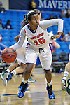 Texas Arlington Mavericks guard Kiara Parker (15) in action during the game between the Texas Pan American Lady Broncs  and the Texas Arlington Mavericks at the College Park Center arena in Arlington, Texas. UTPA defeats UTA 59 to 57....