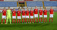 20180228 - LARNACA , CYPRUS : Austrian team pictured with Nina Burger (10) , Manuela Zinsberger (1) , Laura Feiersinger (18) , Nadine Prohaska (8) , Sarah Zadrazil (9) , Katharina Naschenweng (3) , Viktoria Pinther (4) , Katharina Schiechtl (6) , Virginia Kirchberger (13) , Sarah Puntigam (17) and Carina Wenninger (7) during a women's soccer game between Spain and Austria , on wednesday 28 February 2018 at GSZ Stadium in Larnaca , Cyprus . This is the first game in group B for Spain and Austria during the Cyprus Womens Cup , a prestigious women soccer tournament as a preparation on the World Cup 2019 qualification duels. PHOTO SPORTPIX.BE | DAVID CATRY
