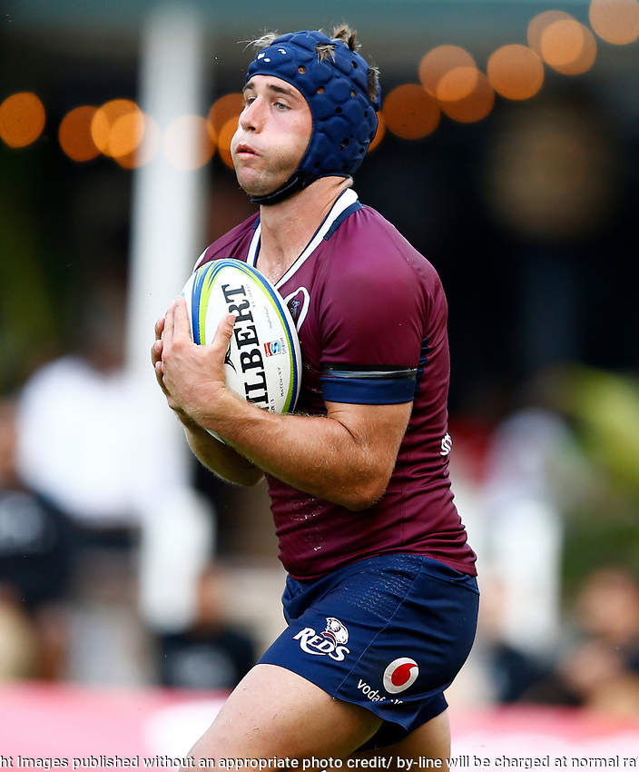 Hamish Stewart of The St.George Queensland Reds during the super rugby match between the Cell C Sharks and the Queensland Reds at Jonsson Kings Park Stadium in Durban, South Africa 19th April 2019. Photo: Steve Haag / stevehaagsports.com
