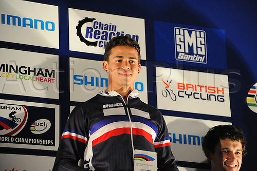 05.27.2012. England, Birmingham, National Indoor Arena. UCI BMX World Championships. Podium trio for the Cruisers Men 17 -24 Finals at the NIA. ..Olivier Begue (France) 3rd....
