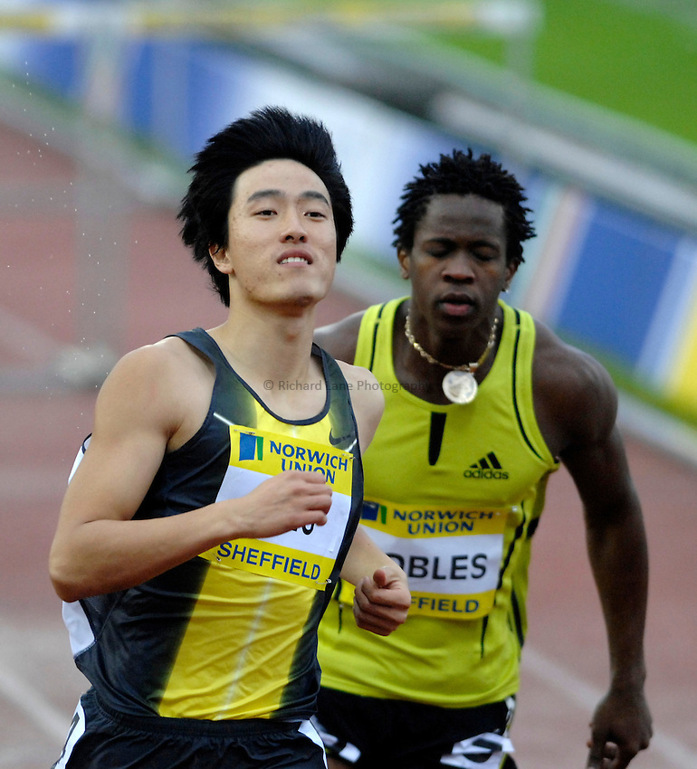 Photo: Richard Lane/Richard Lane Photography..Norwich Union British Grand Prix, Sheffield. 15/07/2007. .Liu Xiang of China wins the men's 110m hurdles.
