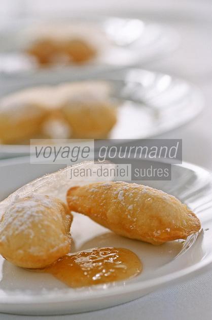 """France/2A/Corse du Sud/Ajaccio: Pommes souflées au bruccio , marmelade d'agrumes recette d'Antoine Cadinu chef du restaurant """"La Dolce Vita"""" route des Sanguinaires"""