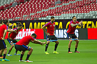 Glendale, AZ - Friday June 24, 2016: Graham Zusi, Clint Dempsey, Geoff Cameron of the United States during a training prior to the third place match of the Copa America Centenario at the University of Phoenix Stadium.<br /> Action photo during of the United States team training before the game against the selection of Colombia for third place in the America Cup Centenary 2016 at University of Phoenix Stadium<br /> <br /> Foto de accion durante el Entrenamiento de la Seleccion de Estados Unidos previo al partido contra la Seleccion de Colombia por el tercer lugar de la Copa America Centenario 2016, en el Estadio de la Universidad de Phoenix, en la foto: (i-d) Graham Zusi, Clint Dempsey y Geoff Cameron de USA<br /> <br /> <br /> 24/06/2016/MEXSPORT/Victor Posadas.