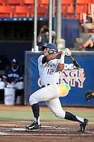 Jerrod Bravo (12) of the Cal State Fullerton Titans bats against the University of San Diego Toreros at Goodwin Field on April 5, 2016 in Fullerton, California. Cal State Fullerton defeated University of San Diego, 4-2. (Larry Goren/Four Seam Images)