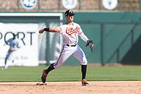 Glendale Desert Dogs third baseman Steve Wilkerson (12), of the Baltimore Orioles organization, throws to first base during an Arizona Fall League game against the Mesa Solar Sox at Camelback Ranch on October 15, 2018 in Glendale, Arizona. Mesa defeated Glendale 8-0. (Zachary Lucy/Four Seam Images)