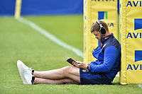 Dave Attwood of Bath Rugby reads the matchday programme prior to the match. Aviva Premiership match, between Bath Rugby and Gloucester Rugby on April 30, 2017 at the Recreation Ground in Bath, England. Photo by: Patrick Khachfe / Onside Images