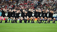 The All Blacks perform a haka before the 2019 Rugby World Cup bronze final match between New Zealand All Blacks and Wales at the Tokyo Stadium at the Tokyo Stadium in Tokyo, Japan on Friday, 1 November 2019. Photo: Steve Haag / stevehaagsports.com