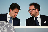 Giuseppe Conte and Alfonso Bonafede<br /> Rome January 14th 2019. Press conference of the Minister of the Internal Affairs, of the Premier and of the Minister of Justice.<br /> Foto Samantha Zucchi Insidefoto