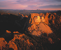 Mount Rushmore, South Dakota Mount Rushmore National Memorial dawn aerial view    Black Hills