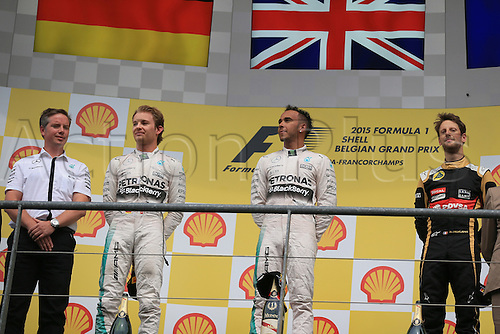 23.08.2015. Spa Francorchamps, Belgium. Formula One World Championship Grand Prix. Race day.  Mercedes AMG Petronas driver Lewis Hamilton takes 1st place ahead of his team mate Nico Rosberg and Lotus F1 Team driver Romain Grosjean