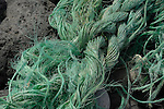 Frayed rope washed up on beach. South Tenerife, Canary islands.