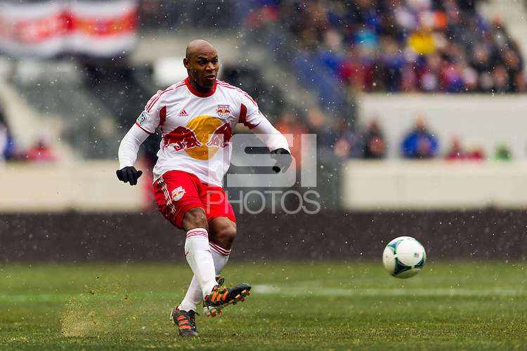 Jamison Olave (4) of the New York Red Bulls. The New York Red Bulls and D. C. United played to a 0-0 tie during a Major League Soccer (MLS) match at Red Bull Arena in Harrison, NJ, on March 16, 2013.