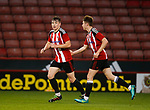 George Cantrill of Sheffield Utd (l) celebrates his goal during the U18 Professional Development League 2 play off semi final match at  Bramall Lane, Sheffield. Picture date: April 21st 2017. Pic credit should read: Simon Bellis/Sportimage