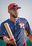 10 March 2014: Houston Astros infielder Marwin Gonzalez awaits his turn in the batting cage prior to a Spring Training game against the Washington Nationals at Space Coast Stadium in Viera, Florida. The Astros defeated the Nationals 7-4 in Grapefruit League play. Mandatory Credit: Ed Wolfstein Photo *** RAW (NEF) Image File Available ***