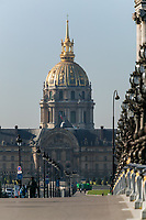 Pont Alexander III spans the river Seine leading to Les Invalides, Paris, France