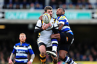 Willie Le Roux of Wasps competes with Semesa Rokoduguni of Bath Rugby for the ball in the air. Aviva Premiership match, between Bath Rugby and Wasps on March 4, 2017 at the Recreation Ground in Bath, England. Photo by: Patrick Khachfe / Onside Images