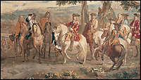 BNPS.co.uk (01202 558833)<br /> Pic: BlenheimPalace/BNPS<br /> <br /> The Battle of Blenheim tapestry shows Marshall Tallard (left) surrendering to Marlborough (White horse).<br /> <br /> Blenheim Palace prepares to pay its Royal dues&hellip;.Historic standard of the 'Sun King' is presented annually to the Queen in lieu of rent.<br /> <br /> The 300 year old tradition will be upheld this week when officials from Blenheim Palace travel to Windsor Castle.<br /> <br /> Each year representatives of the Duke of Marlborough present a French royal standard to the Superintendent of the Castle in lieu of rent.<br /> <br /> Only Blenheim Palace and the Duke of Wellington's estate at Stratfield Saye are afforded the 'Quit rent standard' in thanks for their respective victories over the old enemy, France.<br /> <br /> Blenheim's standard is always presented in the week leading up to the anniversary of the First Duke&rsquo;s historic victory over Louis XIV at the Battle of Blenheim on August 13, 1704.<br /> <br /> Although Blenheim Palace was paid for by public subscription, the land it is on was a former Royal hunting lodge and in theory if the standards are not delivered the Queen could reclaim her former estate.