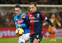 10th November 2018, Stadio Luigi Ferraris, Genoa, Italy; Serie A football, Genoa versus Napoli; <br /> Jose Callejon of Napoli  challanges Domenico Criscito of Genoa