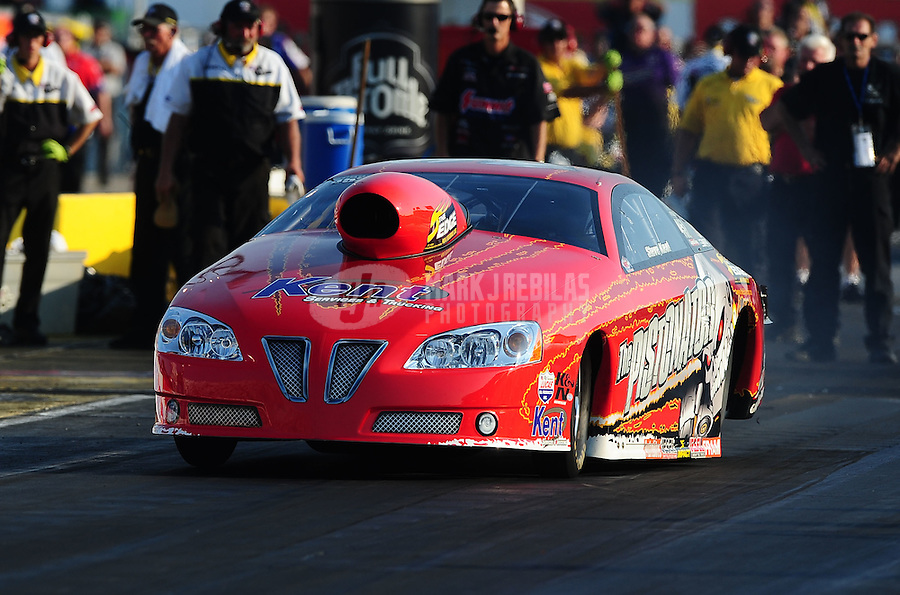 Sept. 2, 2011; Claremont, IN, USA: NHRA pro stock driver Steve Kent during qualifying for the US Nationals at Lucas Oil Raceway. Mandatory Credit: Mark J. Rebilas-