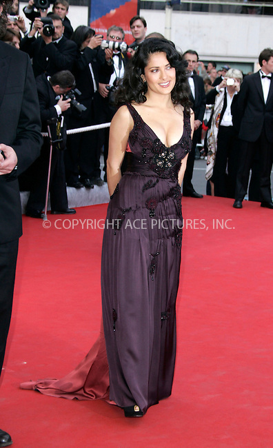 WWW.ACEPIXS.COM . . . . .  ... . . . . US SALES ONLY . . . . .....CANNES, MAY 11, 2005....Salma Hayek at the premiere for 'Lemming' on Day 1 of the 2005 Cannes Film Festival.....Please byline: FAMOUS-ACE PICTURES-H. BOESL... . . . .  ....Ace Pictures, Inc:  ..Craig Ashby (212) 243-8787..e-mail: picturedesk@acepixs.com..web: http://www.acepixs.com