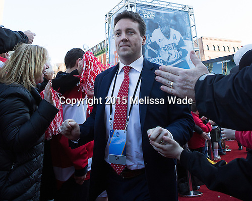 Steve Greeley (BU - Associate Head Coach) - The teams walked the red carpet through the Fan Fest outside TD Garden prior to the Frozen Four final on Saturday, April 11, 2015, in Boston, Massachusetts.