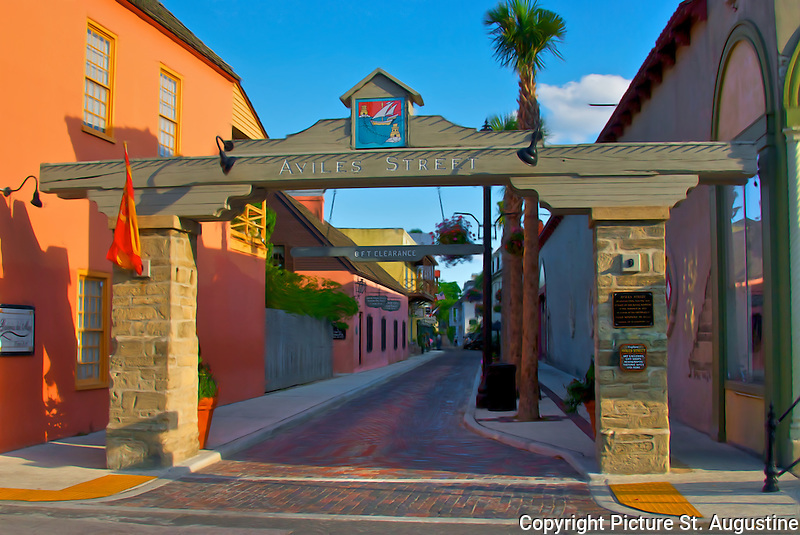 Arch above the entrance to Aviles Street in historic downtown St. Augustine, Florida