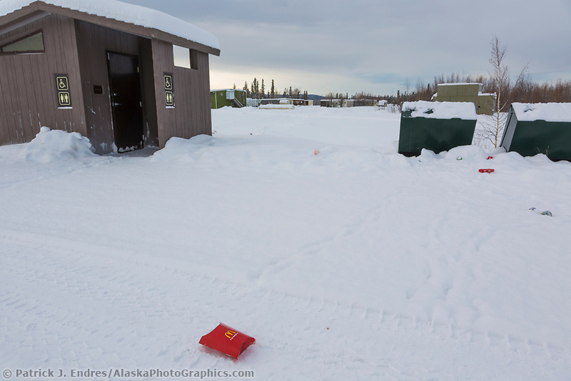 Trash at a rest stop at the Yukon River along the James Dalton Highway.