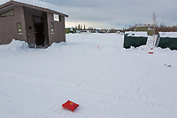 Trash at a rest stop at the Yukon River along the James Dalton Highway.