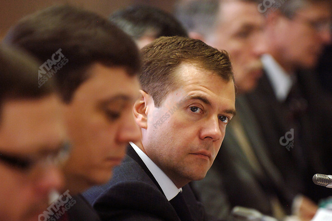Dmitri Medvedev, First Deputy Prime Minister of Russia, chaired a meeting about the national development project and in particular affordable housing in the government building of the regional city of Veliky Novgorod.