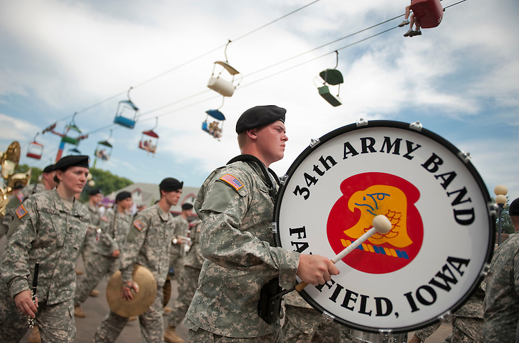 UNITED STATES - AUGUST 15:  An Army band marches in the Veteran's parade at the Iowa State Fair in Des Moines, Iowa.  (Photo By Tom Williams/Roll Call)