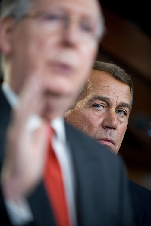 House Minority Leader John Boehner, R-Ohio, right, and Senate Minority Leader Mitch McConnell, R-Ky., conduct a news conference on health care reform, Oct. 15, 2009.